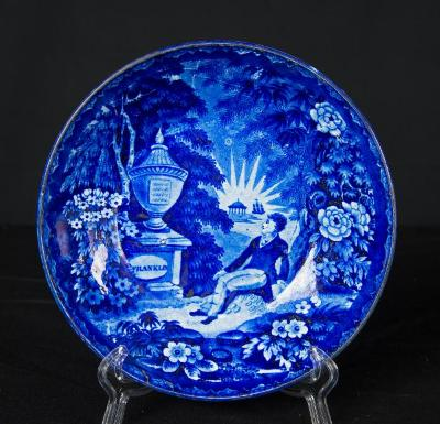 """Saucer Dish - """"Lafayette at Franklin's Tomb"""""""