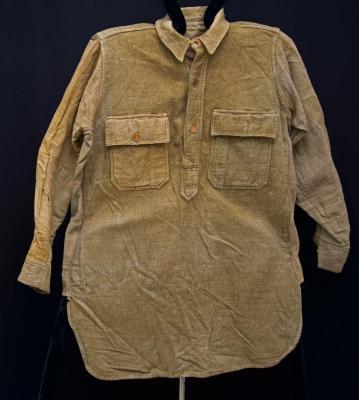 Shirt - Army Khaki pullover shirt w/ repairs