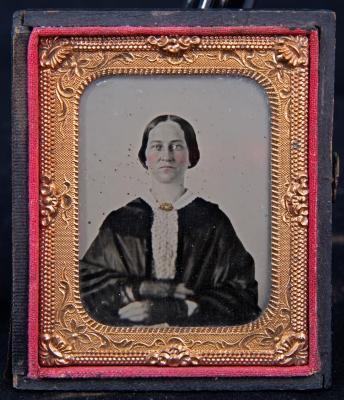 Tintype portrait of Lydia A. Coe