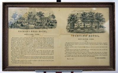 advertisements for Sachem's Head (Guilford ) and Tontine Hotel (1860).