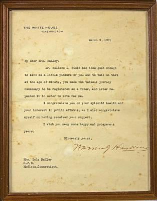 Letter signed by Pres. Warren G. Harding to Lois Bailey
