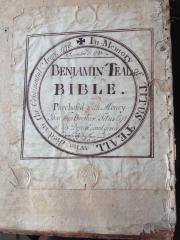 Bible - Titus Teall memorial bible