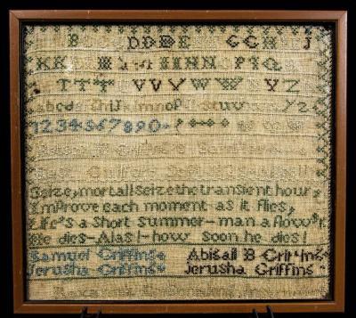 Sampler - needlework by Betsy Griffins