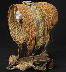 Bonnet - straw w/ gray brocade ribbon