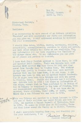 Letter from Pauline Cowger about Herrick Family