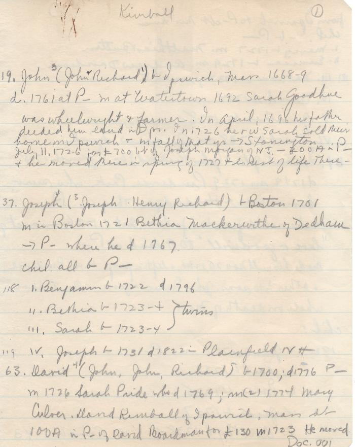 Kimball genealogy