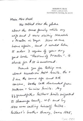 Letter from Richard Giles to Mrs. Sidney Hall