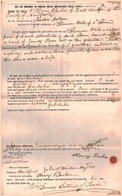 Warrantee Deed, Henry Barber to Solomon Wells.