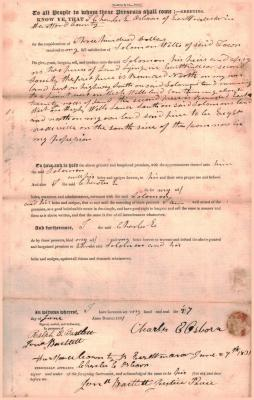 Land Deed from Charles E. Osborn to Solomon Wells
