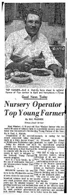 "Photo of Emil A. Mulnite and article titled ""Nursery Operator Top Yount Farmer"" in the Hartford Times."