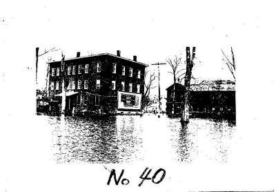 COPY Photo, Simnons Block and Silk Mill, 1938 flood. Warehouse Point.
