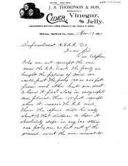 COPY J. A. Thompson & Son, Cider Mill, Melrose, 1897. Letter to New England RR Co, outlining plan to erect telephone poles to the mill.