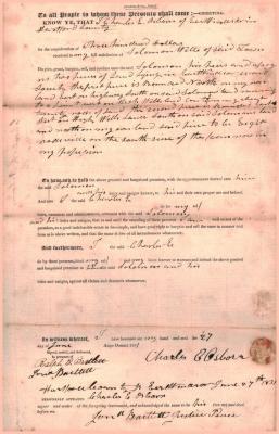 Land deed Elijah Osborn and Charles E. Osborn to Solomon Wells.