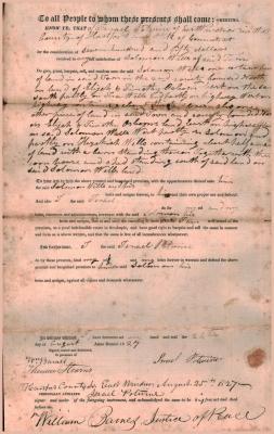 Land Deed, Israel Potwine to Solomon Wells.