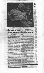 """Title from the Journal Inquirer """"He has a post for life: town names him historian"""". Mike DeVito."""