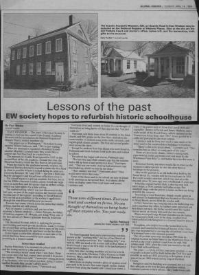 Lessons of the past-East Windsor Society hopes to refurbish historic schoolhouse. Article from the Journal Inquirer, dated April 14, 1998.