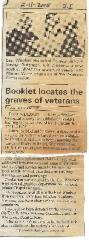 """""""Booklet locates the graves of veterans."""" Journal Inquirer article, February 11, 2005."""