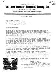 Correspondence from The East Windsor Historical Society, Inc. to Walter Isaacson.