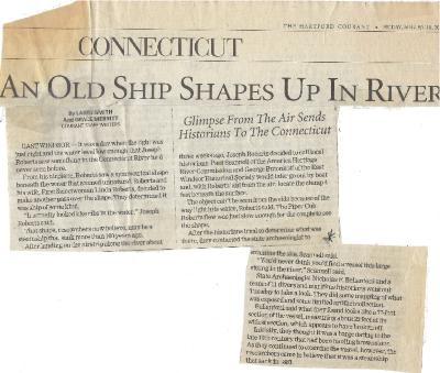 """An Old Ship Shapes Up In River"",  Hartford Courant article, August 10, 2001."