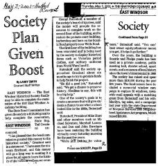 Society Plan Given Boost.  Article from the Hartford Courant, dated May 3, 2001.