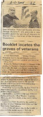 """Booklet locates the graves of veterans."" Journal Inquirer article, February 11, 2005."