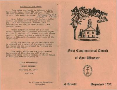 225th Anniversary Music Program, First Congregational Church of East Windsor at Scantic, Organized 1752