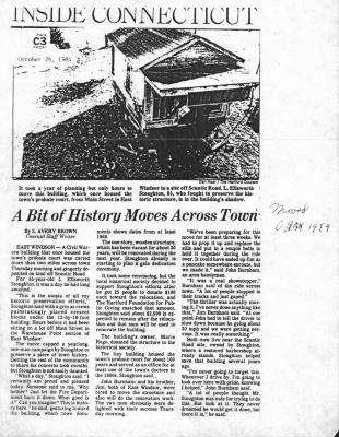 A Bit of History Moves Across Town - An article from the Courant dated October 26, 1984: Town's probate court from Main Street, East Windsor to a site off Scantic Road.