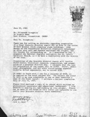 """Letter from Jack A. Gold, dated June 22,1983, to Ellsworth Stoughton about """"local historic district report"""". 10 pages. Three pages are duplicate of Historic Commission 3-page document 2020.006.0005."""