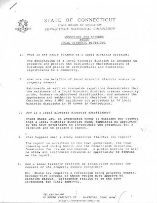 Historic District questions and answers from the State of Connecticut Historical Commission 3 pages