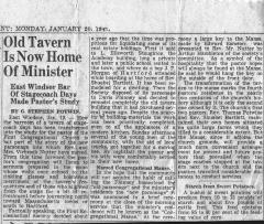 Newspaper Article - Old Tavern is now Home of Minister