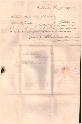 Letter to the Select men, town of Coventry, dated February 7, 1839.