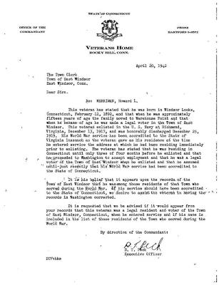 Letter of the State of Connecticut Veterans Home Re: Merriman, Howard L.