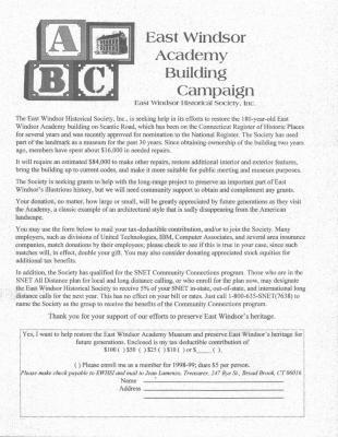 East Windsor Academy Building Campaign, East Windsor Historical Society, Inc.