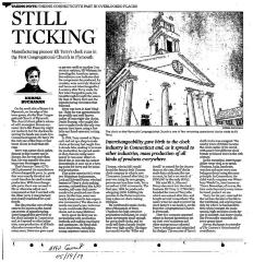 """""""Still Ticking"""", article in Hartford Courant  05/19/2019  Clock in Plymouth CT"""