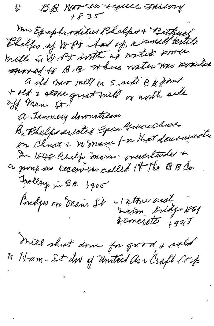 Broad Brook Woolen Textile Factory (1835), notes of