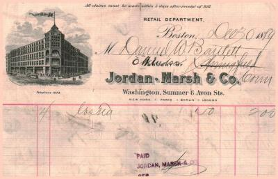 Receipted Invoice from Jordan Marsh and Company Boston MA.