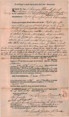 Property deed from Solomon Ellsworth to Rufus Crane