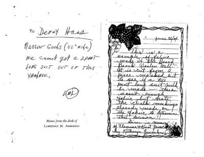 Note regarding fabric from the Broad Brook Woolen Mill,  dated 6/26/2004.