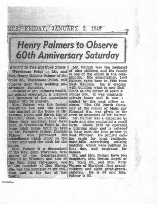 Henry Palmers to Observe 60th Anniversary Saturday, newspaper article.;