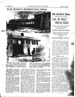Car, Off Track, Wrecks House.  Published in The Hartford Times, Saturday, December 10, 1904. Crashes into the parlor.  Accident was at Scitico.