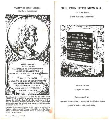 The John Fitch Memorial, 434 King Street, South Windsor, Connecticut.