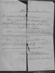 Letter of Recommendation for Sarah Usher, 1927