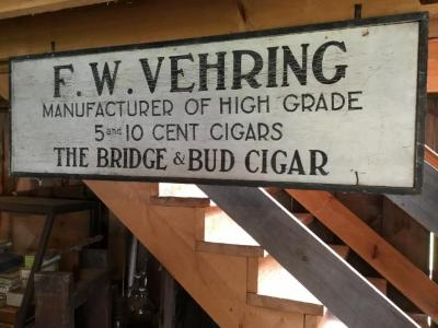 F. W. Vehring sign. Manufacturer of High Grade 5 & 10 cent cigars THE BRIDGE AND BUD CIGAR
