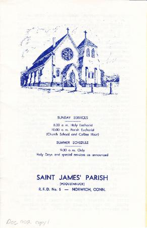 Saint James' Parish Choir Concert brochure