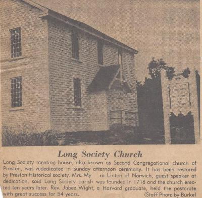 Long Society Church Rededicated Sunday
