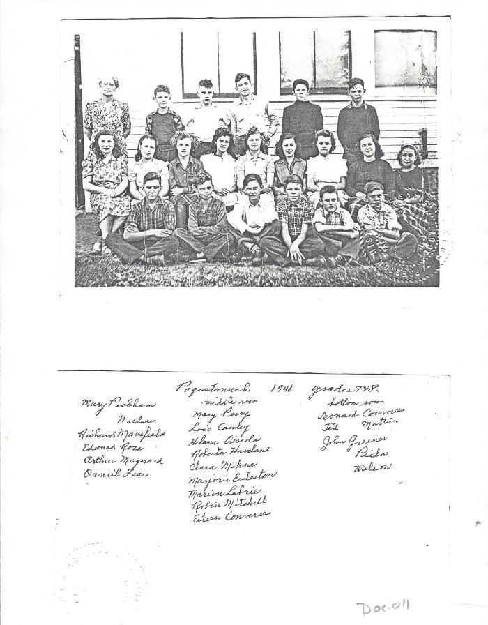 Photocopy of Grades 7 & 8  Poquetanuck 1946