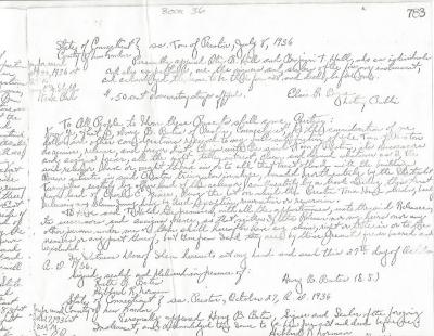 Photocopy of quit claim deed Henry Bates-Town of Preston 1936