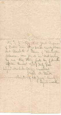 Marriage Certificate of Jared Chapman to Elizabeth L. Palmer 1846