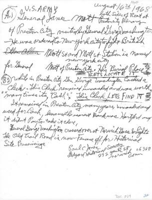 Photocopy of Note on General James Mott