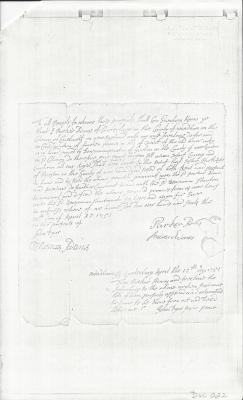 Photocopy of Parker Adams Deed  1751